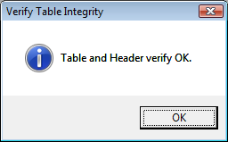 Table verified ok.